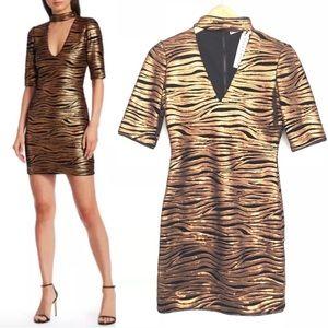 NEW Alice + Olivia Inka Sequin Zebra Choker Dress